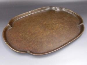 大西成古造 黄銅菓子盆