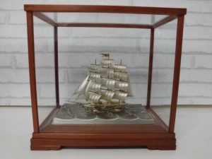 銀製 帆船 刻印有 関武比古 置物